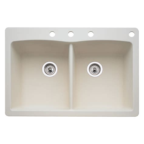 kitchen sinks lowes shop blanco 22 in x 33 in biscuit basin