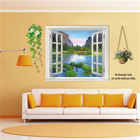 3d 110cm window landscape view removable wall sticker wall decal mural home decor alex nld