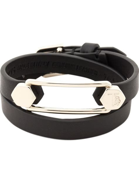 metal for bracelets tod s leather and metal cuff bracelet in black lyst