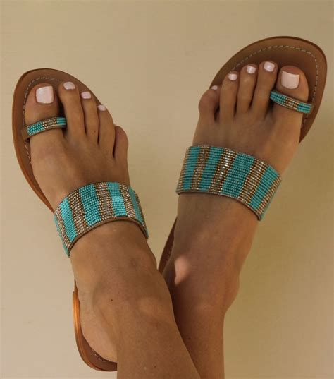 turquoise beaded sandals omana turquoise leather beaded sandals by aspiga cool