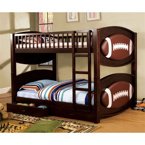 theme bunk bed shop furniture of america olympic walnut
