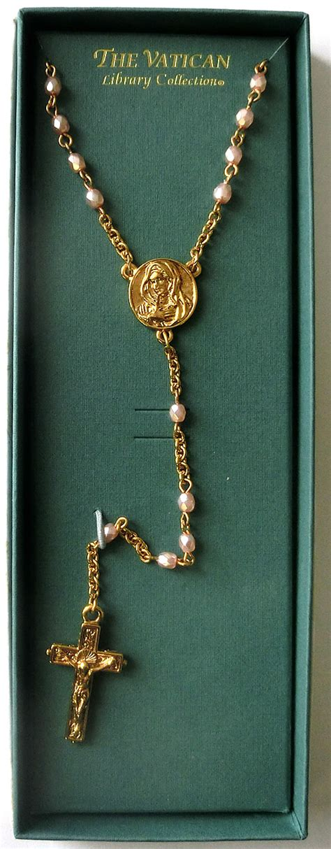 rosary vatican vatican library collection catholic rosary pink pearl