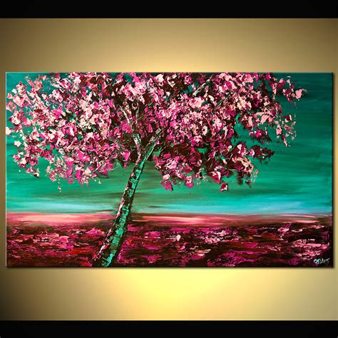 40 quot cherry blossom print stretched embellished by osnat ebay