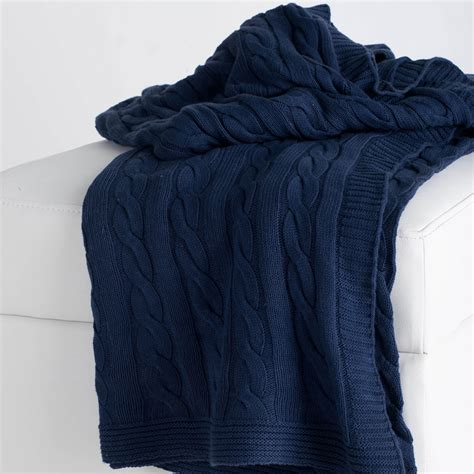 blue knitted throw district17 navy cable knit throw blanket throw blankets