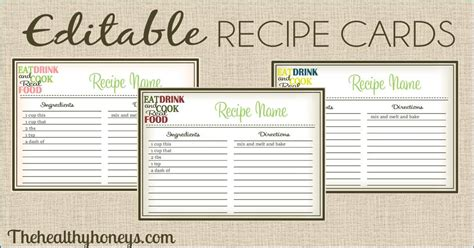 how to make a recipe card real food recipe cards diy editable the healthy honeys