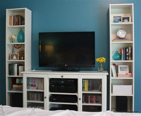 tv cabinet and bookshelves hooked on houses
