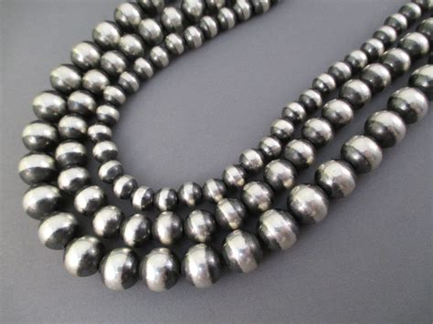 silver beaded necklace oxidized sterling silver bead necklace 3 strands