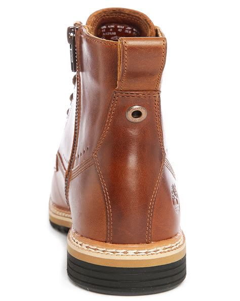leather with zips timberland brown leather boots with side zip in brown for lyst