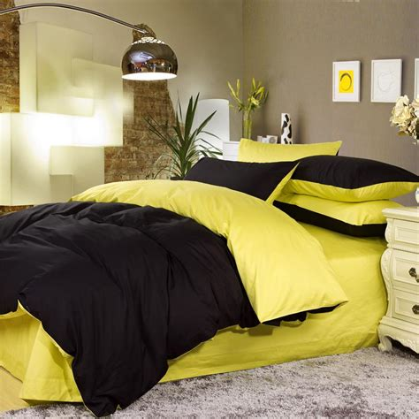 yellow and black comforter sets luxury black and lemon yellow solid color simply