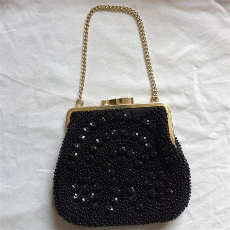 beaded evening bags vintage black flower beaded evening bag by iamia
