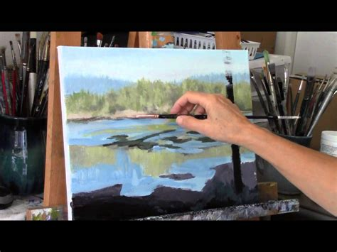 acrylic painting demonstration acrylic river and trees landscape painting demo