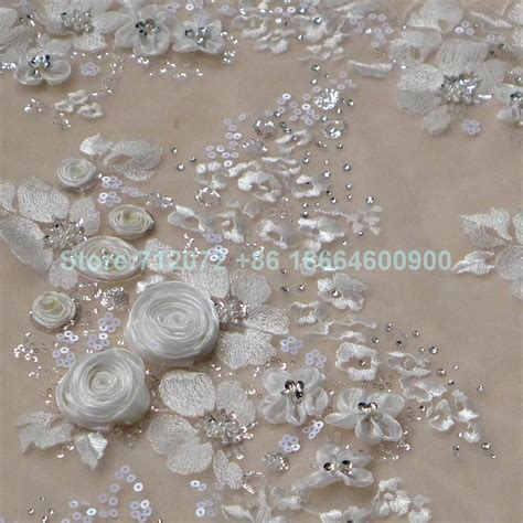 beaded fabric by the yard ivory white 3d beaded sequins lace fabric 51