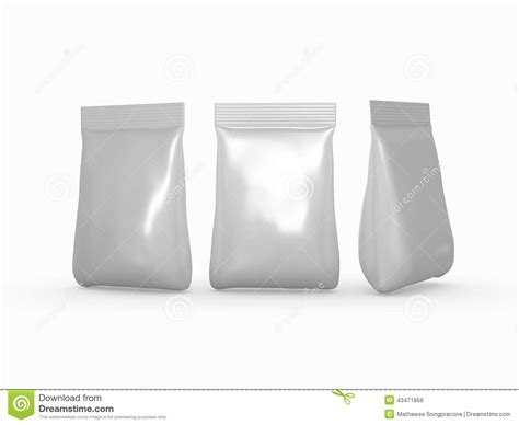 Silver Foil Bag Packaging For A Wide Variety Of Products With Cl Stock Illustration   Image