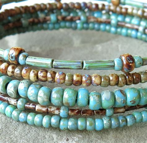 stacked beaded bracelets stacked beaded bracelets brown turquoise picasso