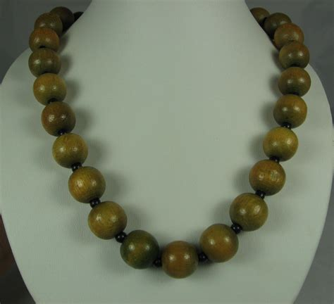 wood bead necklace vintage brown green wood bead necklace by thefashionden on