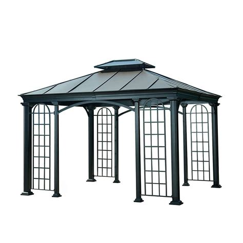 hton bay steel pergola 8 foot by 10 foot gazebo 28 images shop sunjoy black