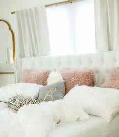 gold decor white light grey mauve gold and animal print bedroom