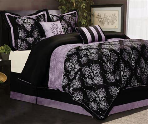 purple and black comforter set 7 king size bedding comforter set pleated royal