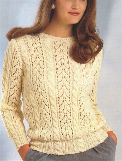 knitted lace sweater patterns lace cable sweater dk wool 30 quot 40 quot knitting
