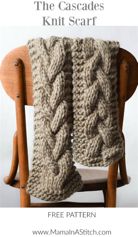 free easy cable scarf knitting patterns the cascades knit scarf in a stitch