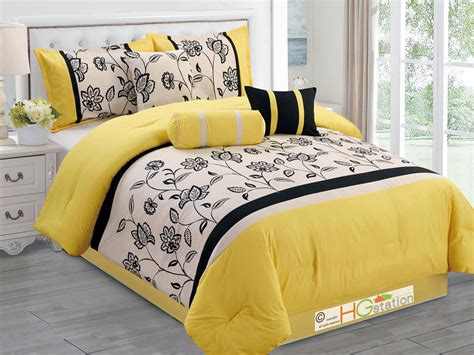 yellow and black comforter sets 7 pc flocking floral garden comforter set yellow black