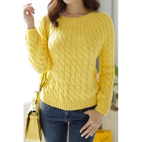 knit sweater womens retro style s neck sleeve cable knit
