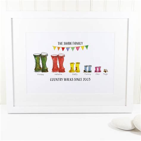gifts this personalised welly boot family print by this is nessie