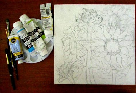 acrylic paint transfer how to draw sunflowers happy family
