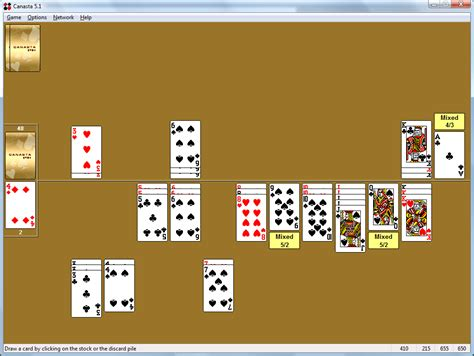 against the computer canasta for windows canasta is a popular strategy card