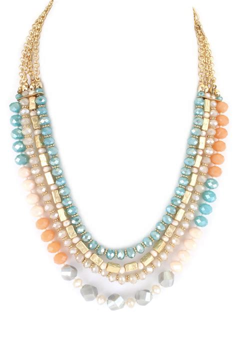 bead link chain glass bead with chain link layered necklace necklaces