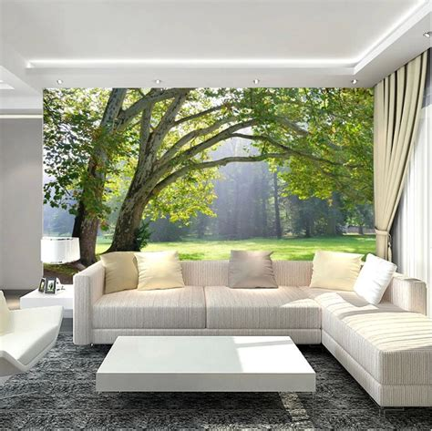 paper wall murals 3d wallpaper mural green three forest scenery photo wall
