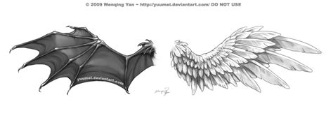 devil and angel wings tattoo design by yuumei