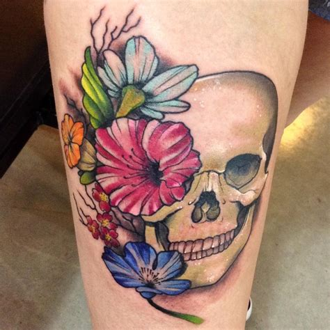 human skull with flowers tattoo by kyle grover tattoos