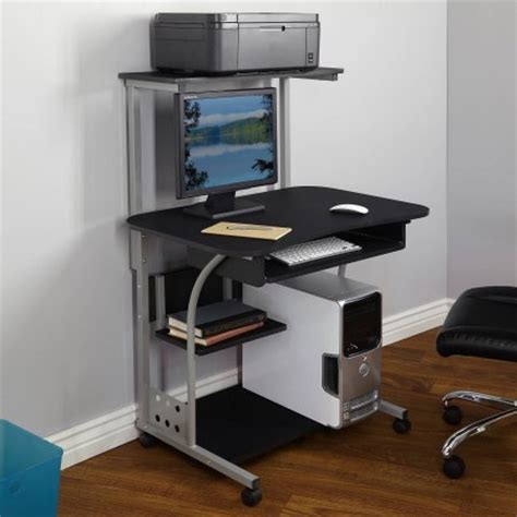 tower computer desk mobile computer tower with shelf finishes