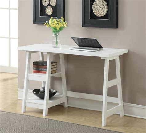 small home office desk convenience concepts white trestle desk