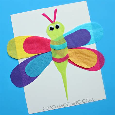 craft made by paper tissue paper dragonfly craft for crafty morning