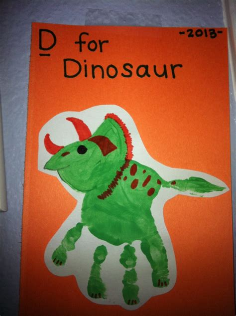 dinosaur arts and crafts for d is for dinosaur handprint for my boy