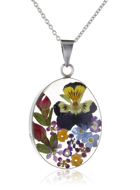 how to make pressed flower resin jewelry sterling silver pressed flower oval pendant necklace