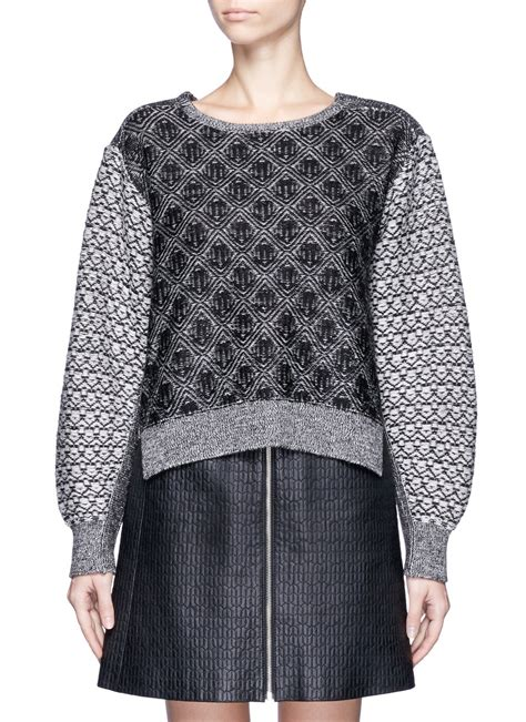 jacquard knit toga pulla jacquard knit wool sweater in gray black multi