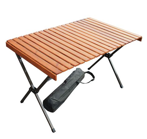 Folding Wooden Camp Chairs by Large Wood Picnic Portable Table In A Bag 43 Quot X27 Quot X27