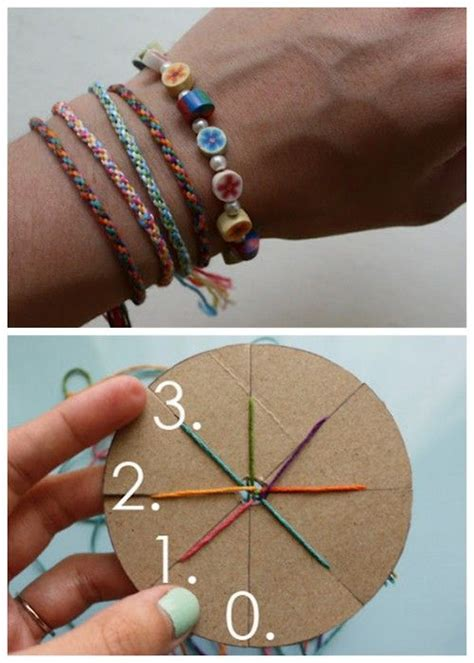 easy jewelry crafts for diy woven friendship bracelet using a circular cardboard