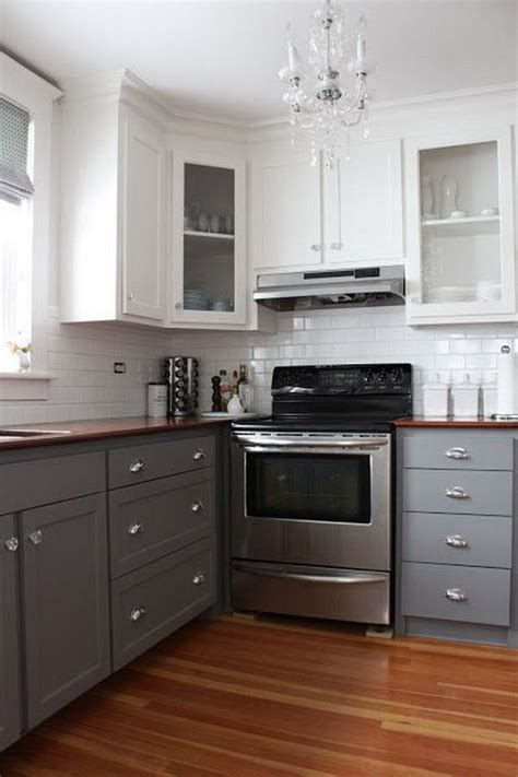 grey and white kitchen cabinets stylish two tone kitchen cabinets for your inspiration
