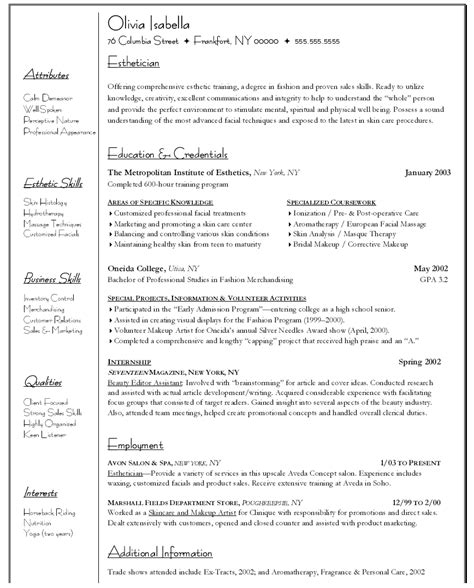 example resume example resume for esthetician