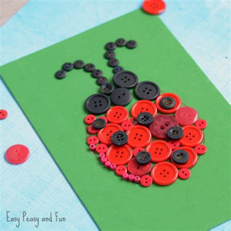 pictures of crafts for ladybug button craft easy peasy and