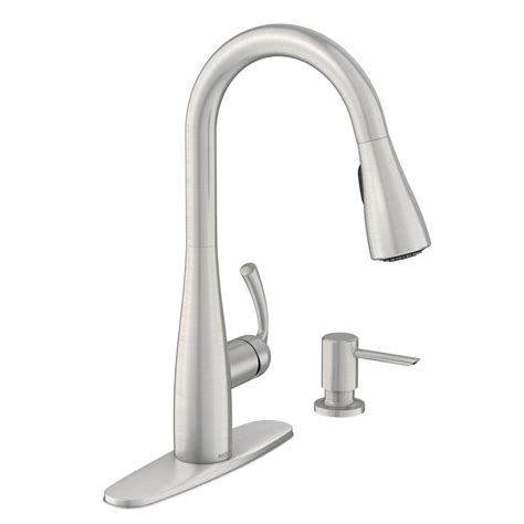 moen pull kitchen faucet moen essie single handle pull sprayer kitchen faucet with reflex and power clean in spot