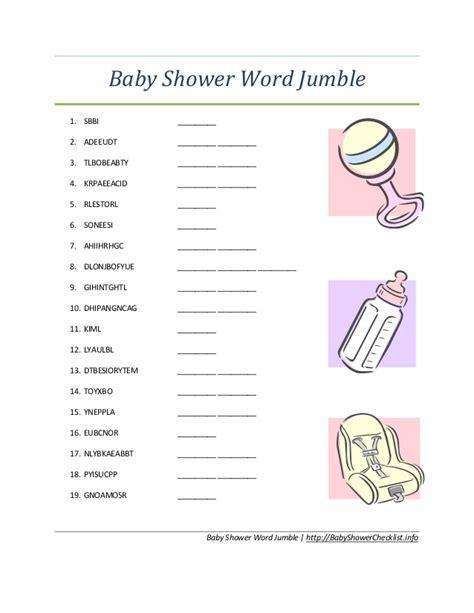 baby scrabble baby shower word jumble