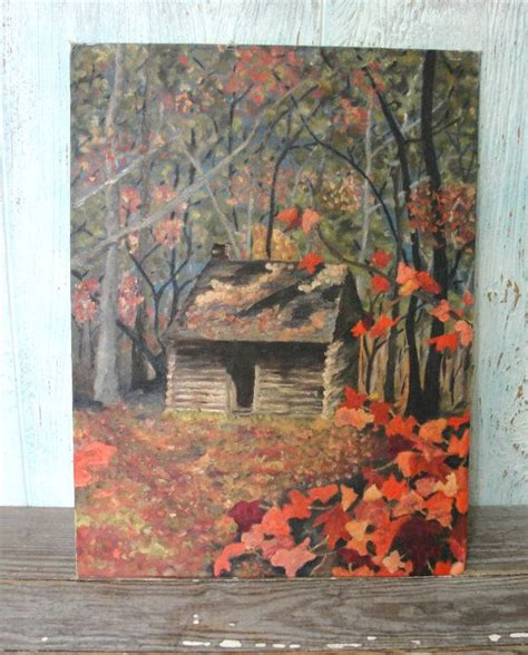 folk acrylic paint on canvas vintage original cabin in the woods autumn