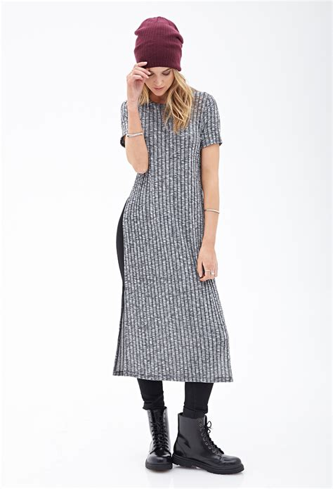 knit t shirt dress forever 21 ribbed knit t shirt dress in gray lyst