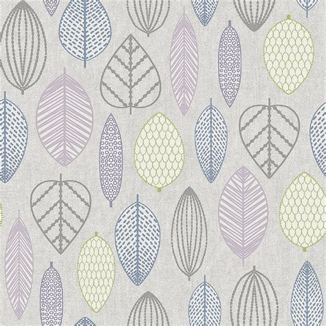 Superfresco Wallpaper by Superfresco Easy Paste The Wall Scandi Leaf Lilac