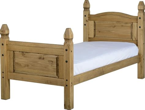 Corona Single Bed in Distressed Waxed Pine With High Foot End